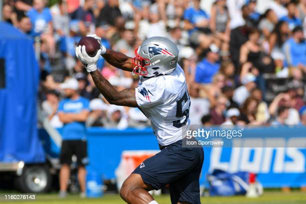 New England Patriots WR NXeaJ Harry catches a pass during NFL football practice on August 7, 2019 at Detroit Lions Training Facilities in Allen Park,...