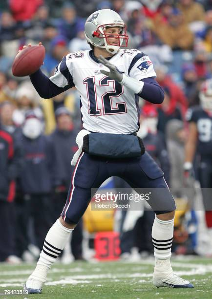 New England Patroits quarterback Tom Brady looks for a receiver during the game against the Buffalo Bills at Ralph Wilson Stadium in Orchard Park New...