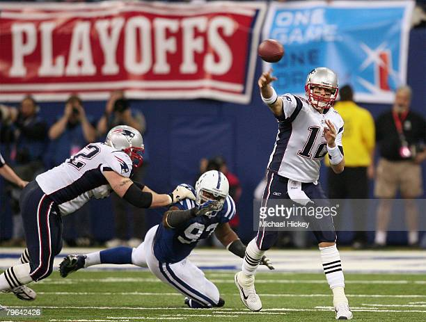 New England quarterback Tom Brady gets a pass off under pressure during the AFC Championships at the RCA Dome in Indianapolis Indiana on January 21...