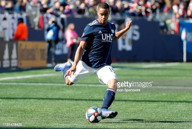 New England Revolution defender Brandon Bye crosses the ball during a match between the New England Revolution and Columbus Crew SC on March 9 at...