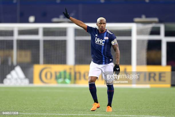 New England Revolution defender Claude Dielna gestures during a match between FC Dallas and New England Revolution on April 14 at Gillette Stadium in...