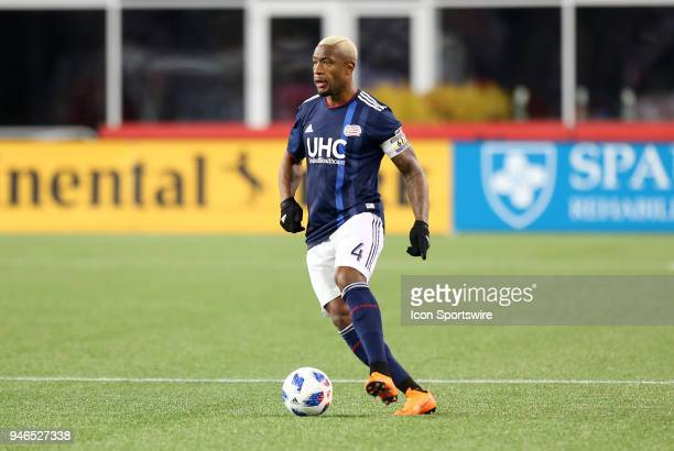 New England Revolution defender Claude Dielna in action during a match between FC Dallas and New England Revolution on April 14 at Gillette Stadium...