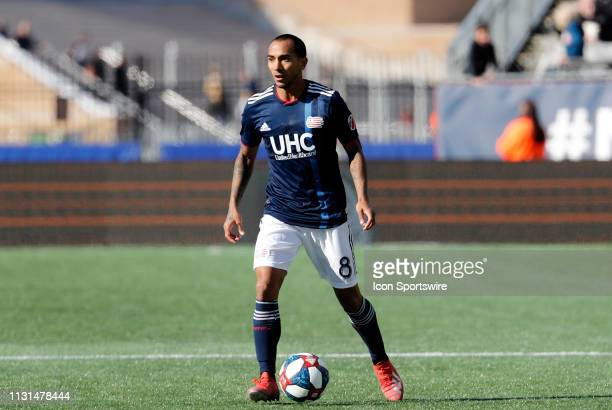 New England Revolution defender Edgar Castillo holds the ball during a match between the New England Revolution and Columbus Crew SC on March 9 at...