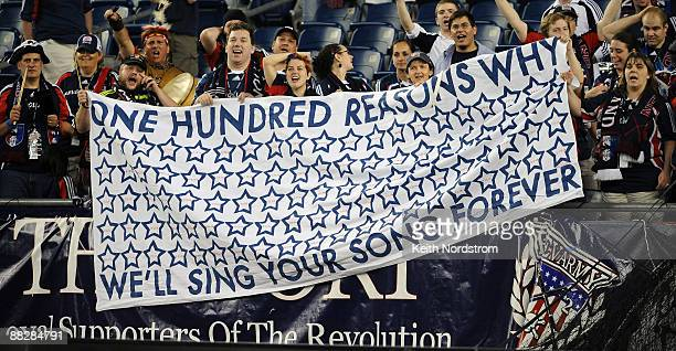 New England Revolution fans celebrate Taylor Twellman's 100th career goal during match against the New York Red Bulls June 7, 2009 at Gillette...