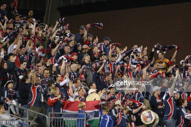 New England Revolution fans celebrate the team's victory against the San Jose Earthquakes at Gillette Stadium on May 17 2008 in Foxborough...