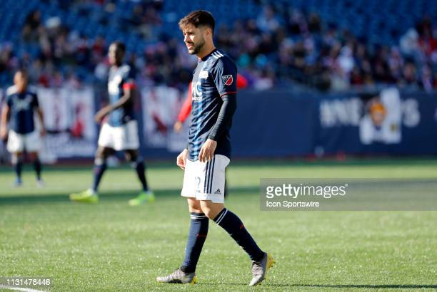 New England Revolution forward Carles Gil eyes a goal kick during a match between the New England Revolution and Columbus Crew SC on March 9 at...
