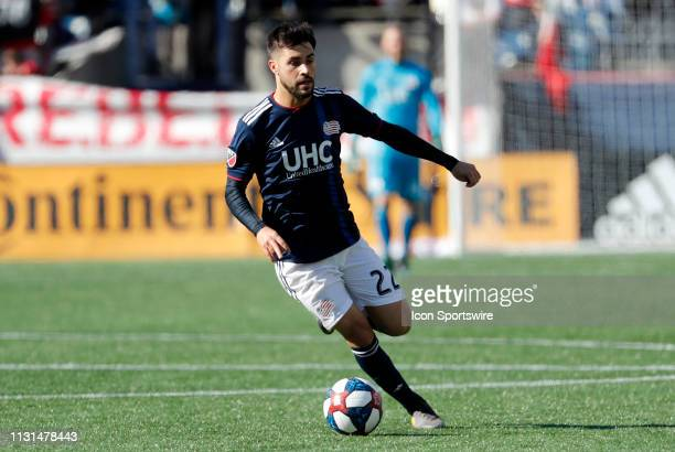 New England Revolution forward Carles Gil looks wide during a match between the New England Revolution and Columbus Crew SC on March 9 at Gillette...