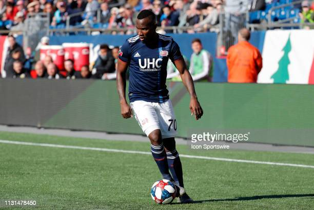 New England Revolution forward Cristian Penilla looks inside during a match between the New England Revolution and Columbus Crew SC on March 9 at...