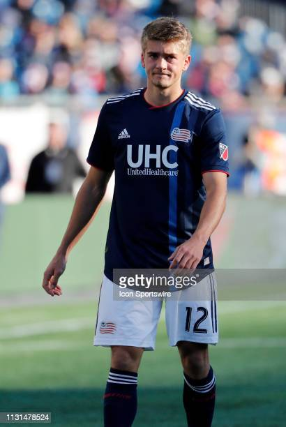 New England Revolution forward Justin Rennicks during a match between the New England Revolution and Columbus Crew SC on March 9 at Gillette Stadium...