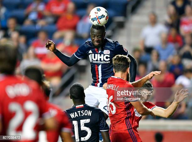 New England Revolution forward Kei Kamara heads the ball during the match between the New England Revolution and the Chicago Fire on August 5 2017 at...