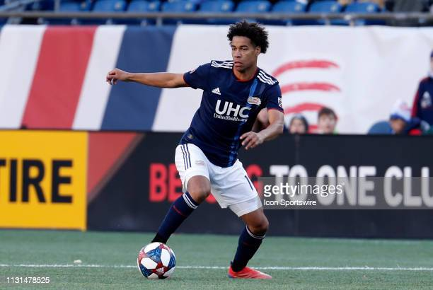 New England Revolution forward Tajon Buchanan looks to pass during a match between the New England Revolution and Columbus Crew SC on March 9 at...