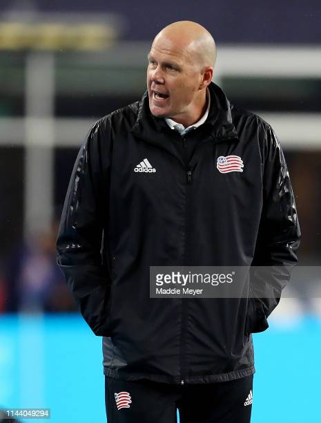 New England Revolution head coach Brad Friedel looks on during the second half of the game at Gillette Stadium on April 20 2019 in Foxborough...