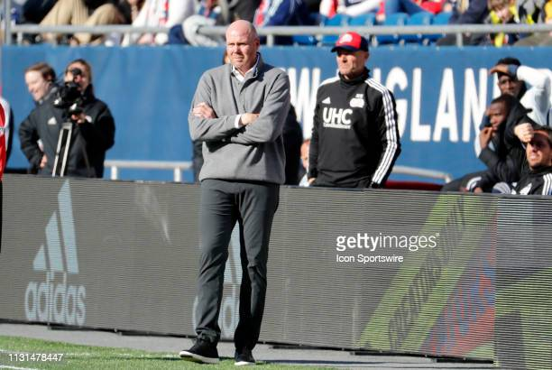 New England Revolution head coach Brad Friedel watches from the coaches box during a match between the New England Revolution and Columbus Crew SC on...