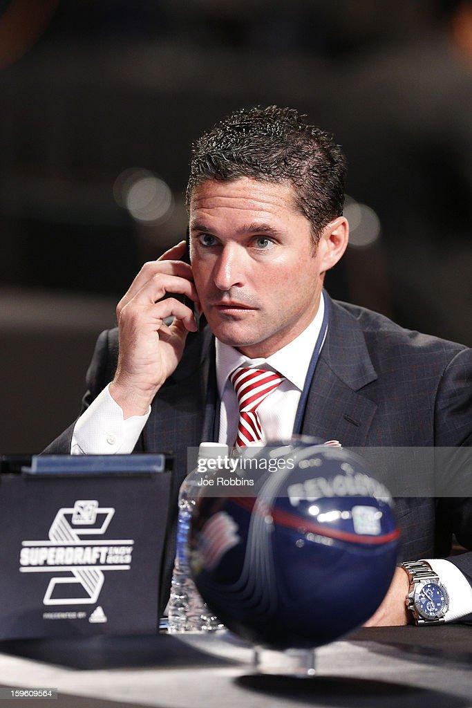 New England Revolution head coach Jay Heaps looks on as the team prepares to make the first selection in the 2013 MLS SuperDraft Presented by Adidas at the Indiana Convention Center on January 17, 2013 in Indianapolis, Indiana.