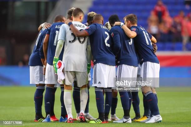 New England Revolution huddle up prior to the first half of the Major League Soccer game between the New York Red Bulls and the New England...