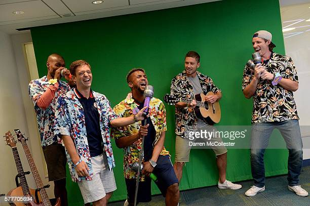 New England Revolution Jose Goncalves Kelyn Rowe Darrius Barnes Chris Tierney and Bobby Shuttleworth sing karaoke at Boston Children's Hospital July...