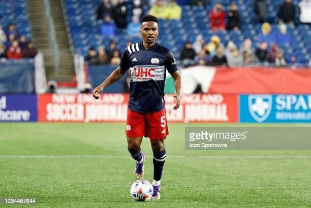 New England Revolution midfielder Wilfrid Kaptoum looks for options during a match between the New England Revolution and Nashville SC on August 4 at...