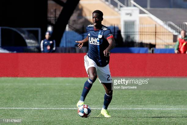 New England Revolution midfielder Wilfried Zahibo controls the ball during a match between the New England Revolution and Columbus Crew SC on March 9...
