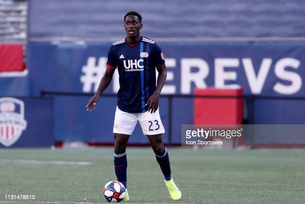 New England Revolution midfielder Wilfried Zahibo looks up field during a match between the New England Revolution and Columbus Crew SC on March 9 at...