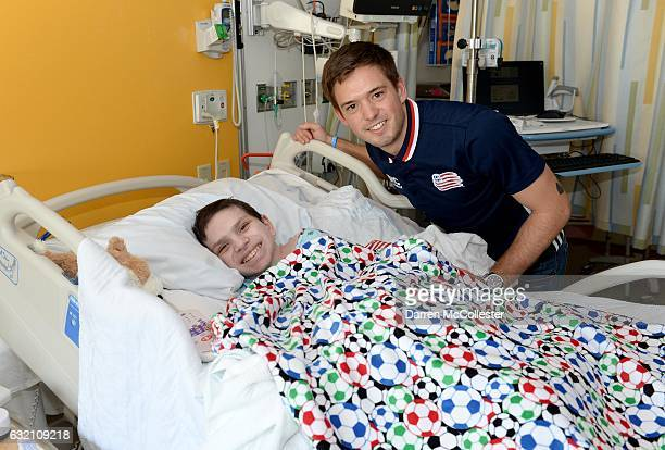 New England Revolutions Kelyn Rowe visits Cameron at Boston Children's Hospital on January 19 2017 in Boston Massachusetts