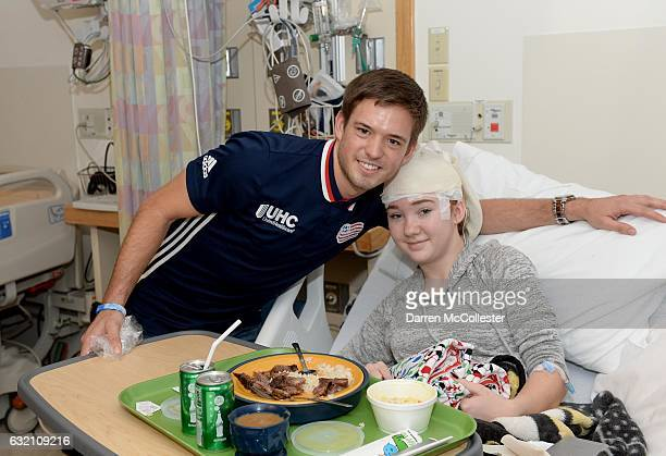 New England Revolutions Kelyn Rowe visits with Alexis at Boston Children's Hospital on January 19 2017 in Boston Massachusetts