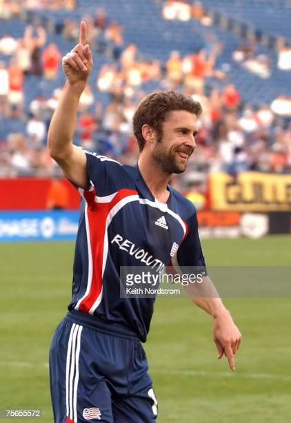 New England Revolution's Pat Noonan celebrates goal against Columbus Crew during MLS action at Gillette Stadium in Foxborough Massachusetts on June...