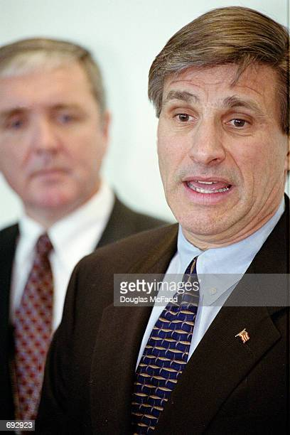 New England Special Agent Charles S Prouty and US Attorney Michael Sullivan address the news media from the John Joseph Moakley United States Court...