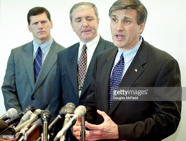 New England Special Agent Charles S Prouty speaks to the news media with US Attorney Michael J Sullivan and Associate US Attorney Gerard T Leone...
