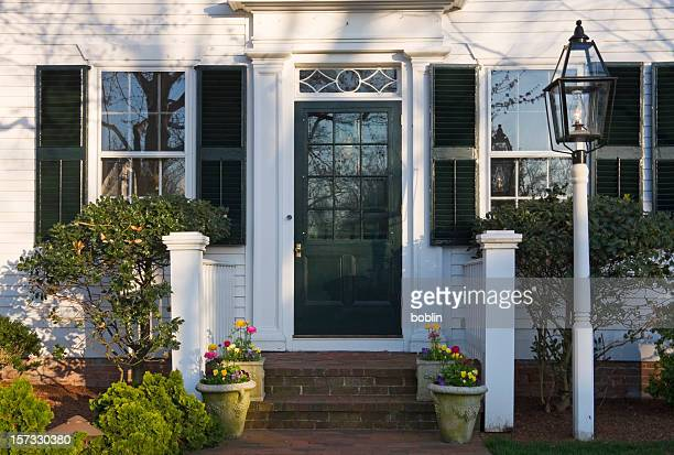 new england spring doorway - marthas vineyard stock pictures, royalty-free photos & images