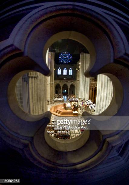 New Episcopal Bishop Mariann Budde is seated at the National Cathedral on the first day that the building reopens to the public Sunday November 13...
