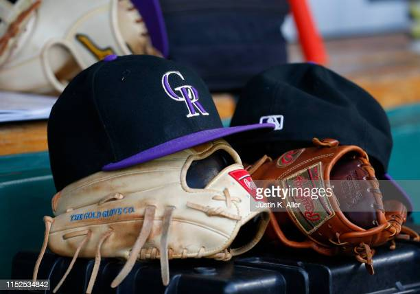 New Era Colorado Rockies hat is seen in action against the Pittsburgh Pirates at PNC Park on May 21, 2019 in Pittsburgh, Pennsylvania.