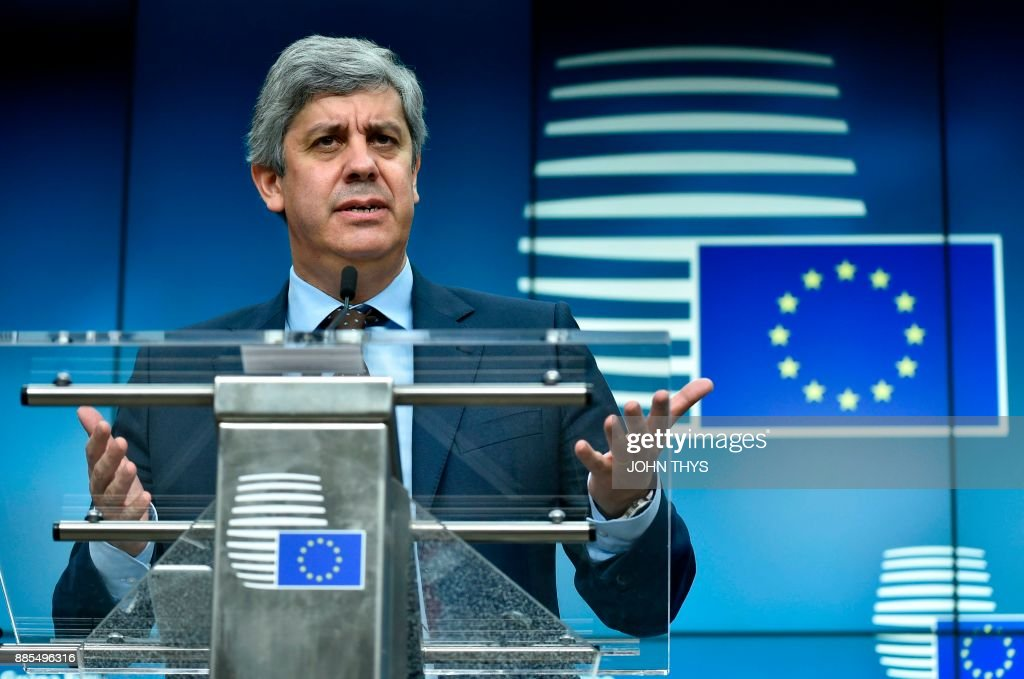 New Eurogroup President Portuguese Finance Minister Mario Centeno addresses a press conference on his election as new Eurogroup chief at the European Council in Brussels on December 4, 2017. The 50-year-old economics professor who is often called a liberal but sees himself 'culturally of the left' accedes to the top post among eurozone finance ministers after only two years in politics. /