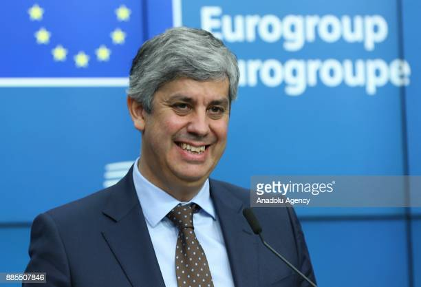 New Eurogroup President Portuguese Finance Minister Mario Centeno gestures during a press conference on his election as new Eurogroup chief at the...