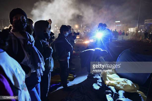 New evacuation of the migrant camp takes place at the gate of Paris near Saint Denis on November 17 2020 Several thousand refugees were sheltered by...