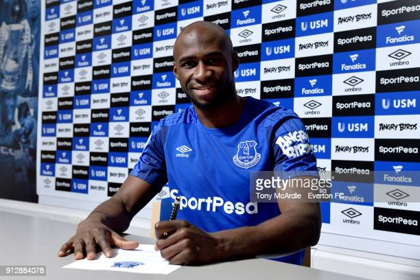 New Everton loan signing Eliaquim Mangala poses for a photo at USM Finch Farm on January 31 2018 in Halewood England