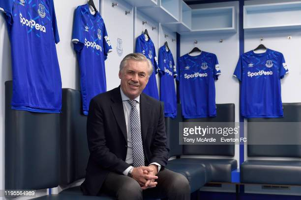 New Everton manager Carlo Ancelotti during in the Everton dressing room at Goodison Park on December 23 2019 in Liverpool England