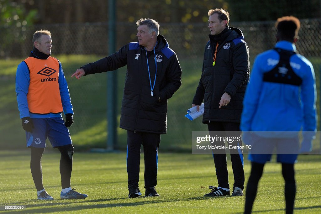 New Everton manager Sam Allardyce chats to Wayne Rooney and Duncan Ferguson during the Everton training session at USM Finch Farm on December 1, 2017 in Halewood, England.