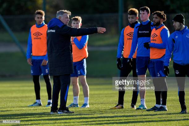 New Everton manager Sam Allardyce passes instruction to his payers during the Everton training session at USM Finch Farm on December 1 2017 in...