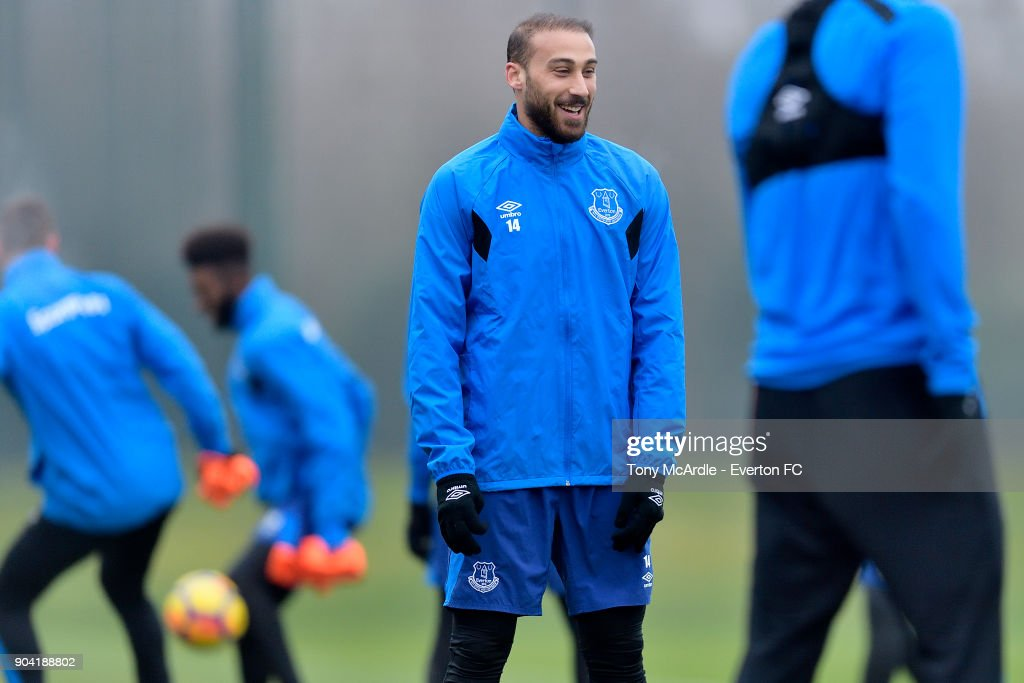 New Everton signing Cenk Tosun during the Everton FC training session at USM Finch Farm on January 12, 2018 in Halewood, England.