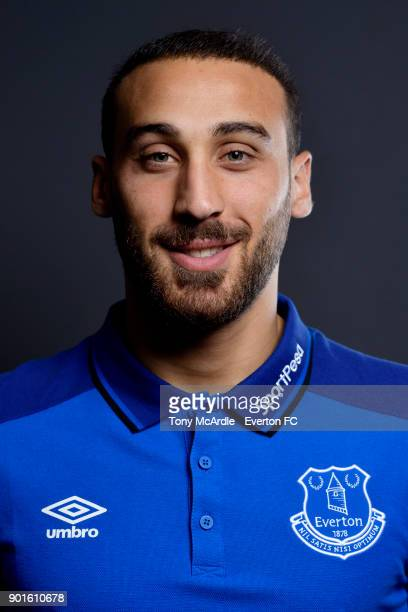 New Everton signing Cenk Tosun poses for a photo at USM Finch Farm on January 5 2018 in Halewood England