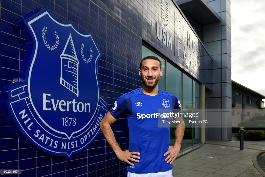 New Everton signing Cenk Tosun poses for a photo at USM Finch Farm on January 5, 2018 in Halewood, England.