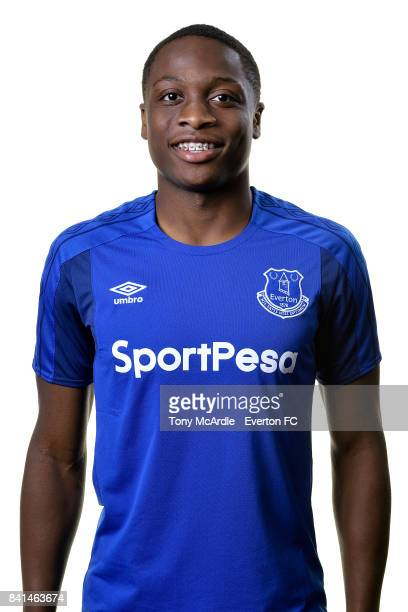 New Everton signing Dennis Adeniran poses for a photo at USM Finch Farm on August 31 2017 in Halewood England