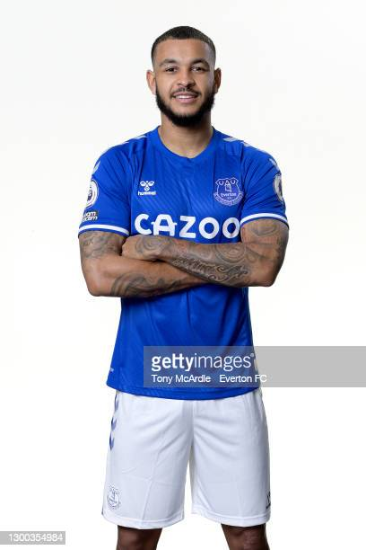 New Everton signing Josh King poses for a photo at USM Finch Farm on February 4 2021 in Halewood, England.