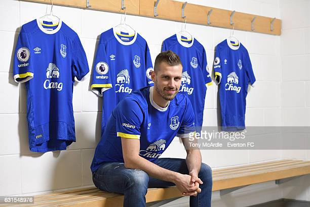 New Everton signing Morgan Schneiderlin poses for a photo at USM Finch Farm on January 11, 2017 in Halewood, England.