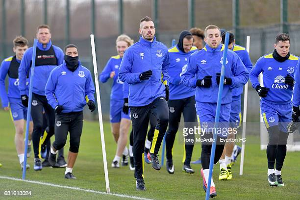 New Everton signing Morgan Schneiderlin with team mates during the Everton FC training session at Finch Farm on January 13 2017 in Halewood England