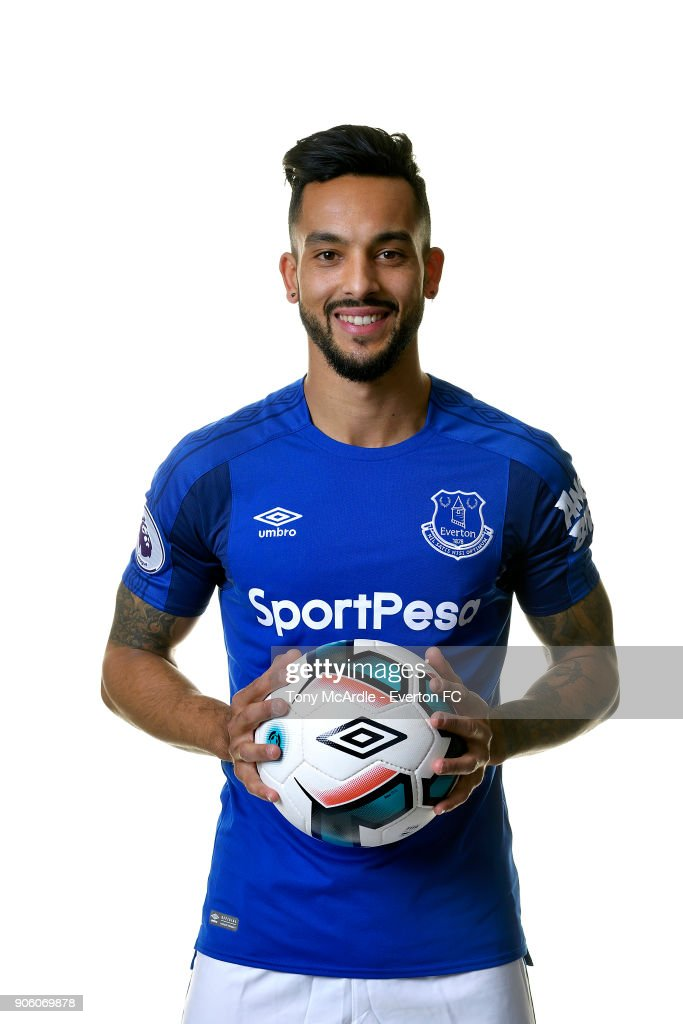 New Everton signing Theo Walcott poses for a photo at USM Finch Farm on January 16, 2018 in Halewood, England.