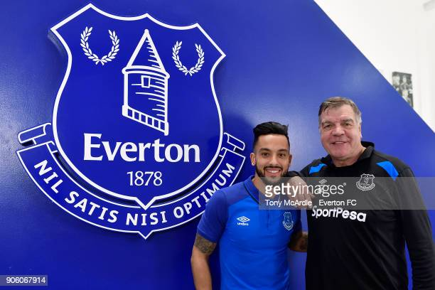 New Everton signing Theo Walcott poses for a photo with Sam Allardyce at USM Finch Farm on January 16 2018 in Halewood England