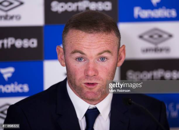 New Everton Signing Wayne Rooney at a press conference at Goodison Park on July 10 2017 in Liverpool England