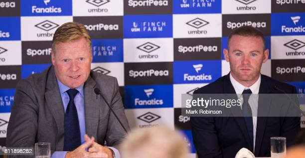 New Everton Signing Wayne Rooney at a press conference with his new Manager Ronald Koeman at Goodison Park on July 10 2017 in Liverpool England