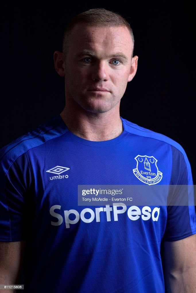 New Everton signing Wayne Rooney poses for a photo at USM Finch Farm on July 8, 2017 in Halewood, England.